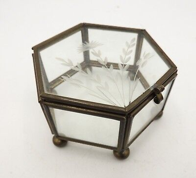 Vintage Etched Glass and Brass Jewelry Casket Hexagon Footed