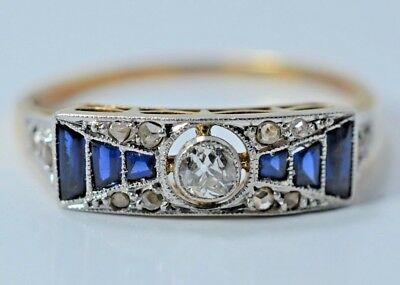 ANTIQUE ART DECO 18k Gold Sapphire and 0.20 CT Diamond Ring 1.8 Gr 750