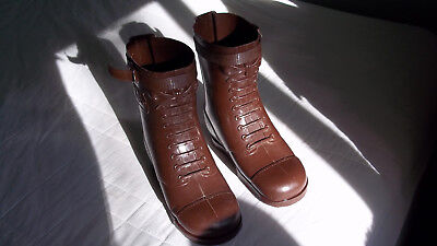 "Vintage Child Size GI Joe Brown Boots Worn 9-1/2"" Tall 1960s Life Sized"