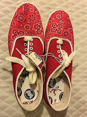 Vtg NOS NWT Ladies Rockabilly RED Flat Canvas Sneakers Tennis Shoes Sz 6