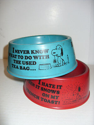 Vintage Peanuts - Snoopy's Suppertime Dishes (x2) - Red and Blue w/ Maker Labels