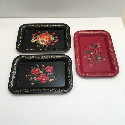 Vintage Painted Toleware Flower Floral Metal Tin Small Trays 1950's (3)