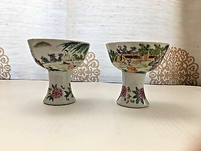Antique Pair of Chinese Cnetury Ming Dynasty Porcelain Wine or Tea Bowl