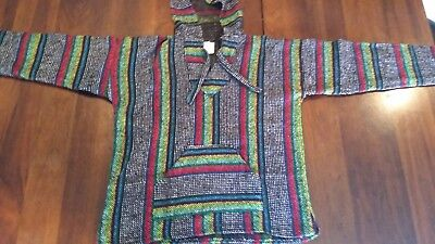 Large Classic baja Poncho hoodie / drug rug with kangaroo pocket %100 mexico
