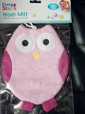 First Steps Baby Wash Mitt Sponge Gloves Bath Time Fun Toys Use Cute - Pink