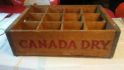 Vintage Canada Dry Wooden Soda Crate 12 Slot