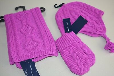 New Ralph Lauren Girls 3 p Set CABLE KNIT Scarf Hat Mittens VIOLET Aran Wool 2 4