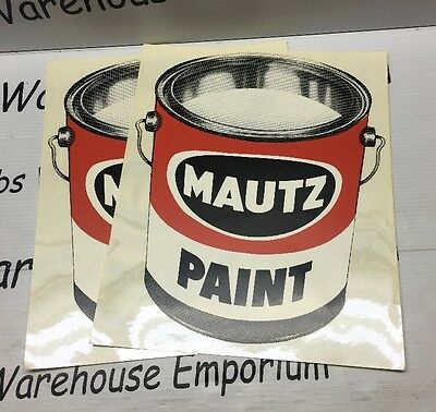 Mautz Paint Sherwin Williams Vintage Can Logo HUGE sticker Decal SIGN Lot Of 2