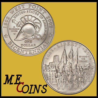 """2002 W """"West Point"""" Commemorative Dollar , 90% Silver,   Free Shipping!"""