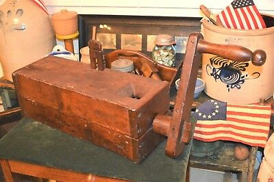 Museum Quality 1700-1800's Best Primitive Hand Made Wood Sausage Meat Grinder