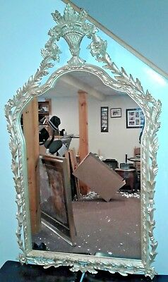 "Antique French Louis XV Gilt Gold Wood Frame wall hang Mirror - 46"" x 28"""