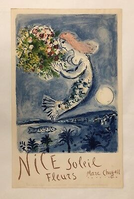Very Rare Original Vintage Poster NICE - SOLEIL FLEURS French Travel CHAGALL