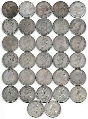 32 Indian One Rupee Silver Coins British Rule Victoria George Edward 1840 - 1942