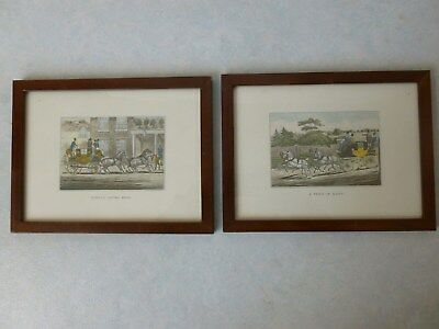 """Reproduction 1 Paire De Gravure Anglaise """" London Royal Mail & A Four In Hand """""""