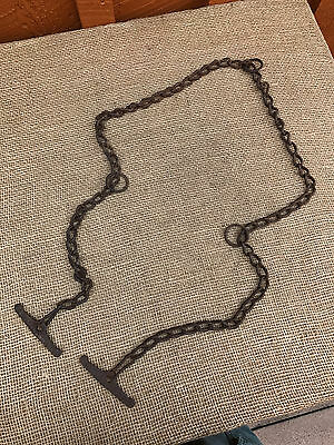 "Antique 63"" - 3 Ring - Cow Kicker / Hobble Chain - Primitive Farm Tool"