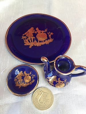Limoges STYLE PORCELAIN MINITURE SET,COURTING COUPLES ON RICH DEEP BLUE GROUND