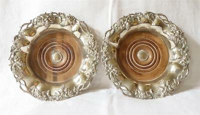 RARE LARGE PAIR OF ANTIQUE 19TH C SILVER PLATED AND WOOD WINE COASTERS  22cms