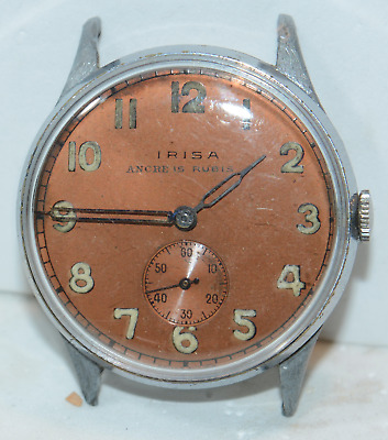 Vintage Military Large 34mm Irisa Ancre 15 Rubis Rose Dial Balance Off