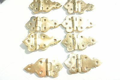 "8 small hinges vintage aged style solid Brass cast heavy polished 3.1/2"" screws"