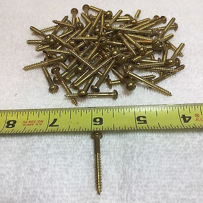 "Lot Of 25 Vintage""NOS"" #6 X 1-1/4"" Solid Brass Slotted Round Head Wood Screws"
