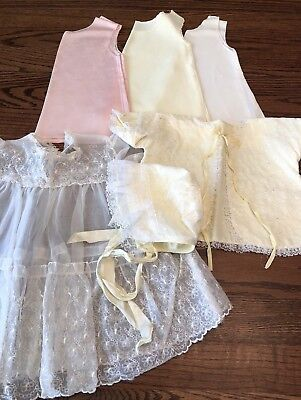 Vintage Lot Of 6 Lacy Infant Or Doll Dresses~lacy Over Dress & Tie Jacket/Bonnet