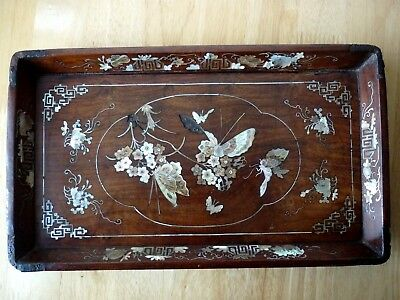 Beautiful Antique Chinese Mother Of Pearl Inlaid Hardwood Tray