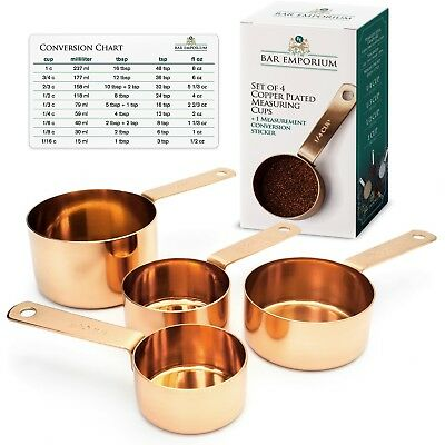 Copper Measuring Cup Set  Set of 4 Copper Plated Stainless Steel Measuring Cu...