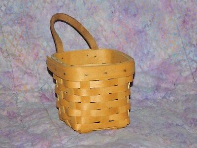 Longaberger Chive Booking Basket w/ Leather Handle 1998