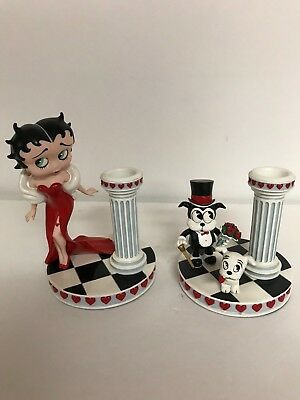 "Danbury Mint Betty Boop Candle Holders ""enchanted Evening"" Great Condition"