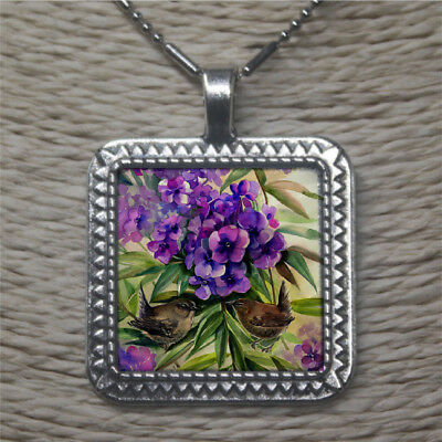 Color printed Flower Shell Silver Edged Alloy Square Necklace N1707 0504