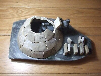Inuit Soapstone Carving Igloo Scene 1960s Pangnirtung withDisc Number