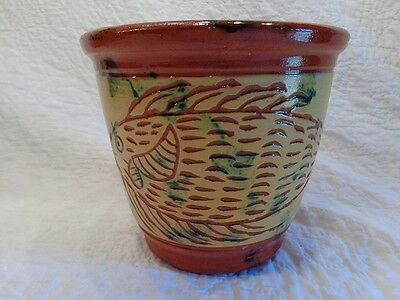 James Seagreaves Glazed Redware Pottery Sgrafitto Fish Design Decorated Crock