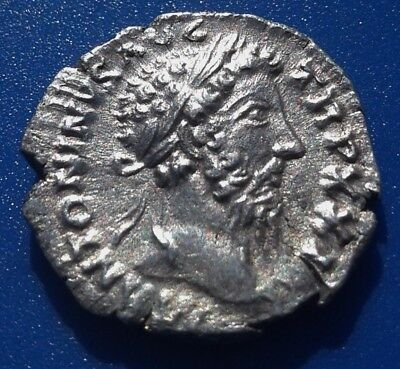 Marcus Aurelius Denarius. Father to Commodus. Ancient Roman Silver Coin.