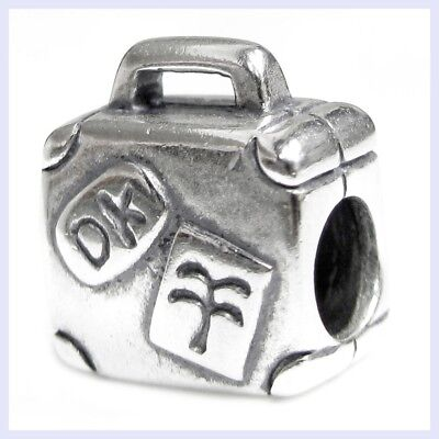 Sterling Silver Suitcase Luggage Bag Vacation Bead for European Charm Bracelet