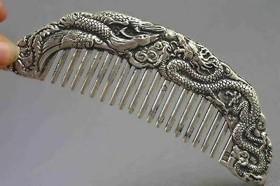 Collectable Handwork Old Miao Silver Carve Dragon & Phoenix Exorcism Lucky Comb