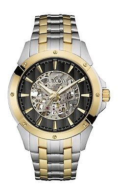 Bulova Men's 98A146 Automatic Black Skeleton Dial Two-Tone Bracelet 43mm Watch