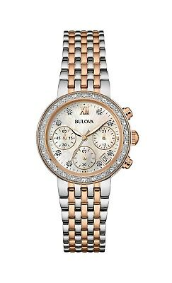 Bulova Women's 98R215 Quartz Diamonds Mother of Pearl Dial Two-Tone 30mm Watch