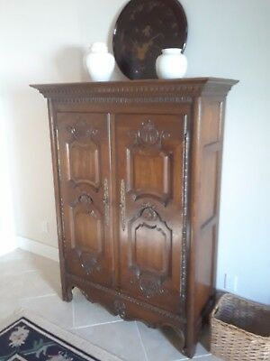 "walnut armoire by Heritage 48""W 68""H 18""D 2 carved doors 4 drawers"