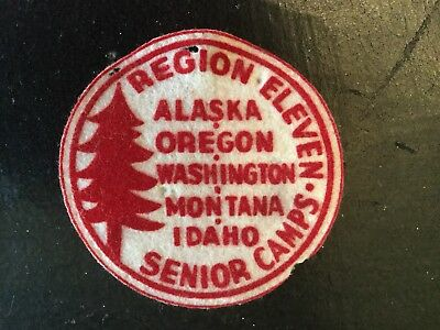 Boy Scouts BSA Vintage Region Eleven Senior Camps Felt Patch. AK, OR, WA, MT, ID