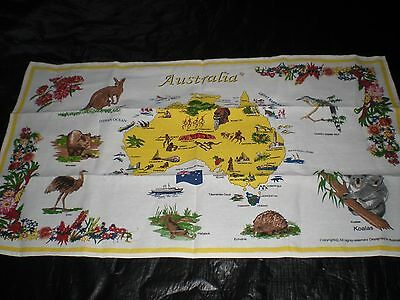 Australian Animals yellow Map tea towel NEW great gift idea for travelers cotton