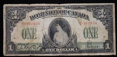 1917 $1 Dominion of Canada Paper Note  Circulated Series T  Replacement Note