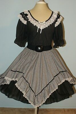Squae Dance Outfit - Black and White Gingham Skirt and Blouse with Three Belts