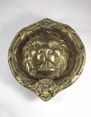 Antique large ornate brass lion head knocker