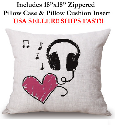 "18"" I LOVE MUSIC BEATS HEADPHONES VALENTINE Throw Pillow Case & Cushion Insert"