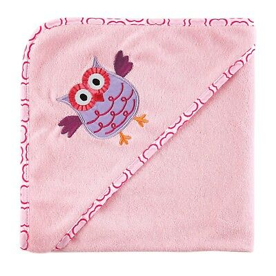 Luvable Friends I Love Family Hooded Towel Pink Owl One Size