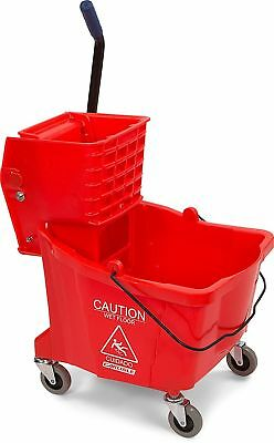 Carlisle 3690405 Commercial Mop Bucket With Side Press Wringer, 35 Quart Capa...