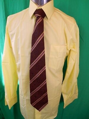 Vintage 1970s Yellow Gold Poly/Cotton Fairmark Work Dress Shirt NOS Never Worn M