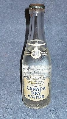 Vintage Canada Dry Sparkling Pinpoint Water Bottle FULL Sealed Duraglass 7oz