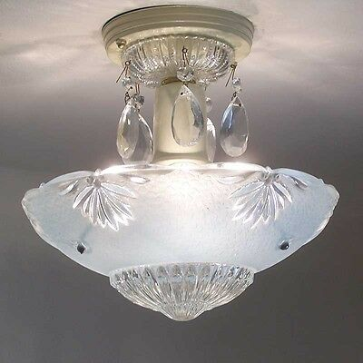 174b Vintage aRT DEco CEILING LIGHT chandelier fixture glass shade blue 3 Lights