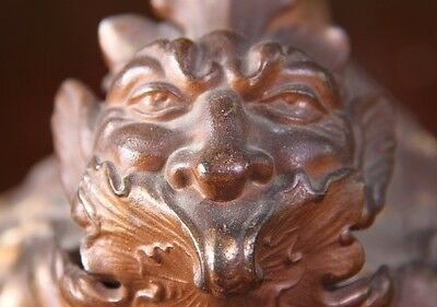 19C French Gilded Ormalu Bronze/Porcelain Cherub/Dragon/Gargoyle Sea Serpent